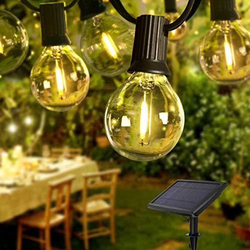 IREGRO Solar Lichterkette Außen, 9.4M 30+2 LEDs Wasserdicht Warmweiß 2700K Lichterkette Glühbirnen Beleuchtung G40 für Xmas Garten Terrasse Hochzeit Hof Haus Party Dekoration [Energieklasse A+++]