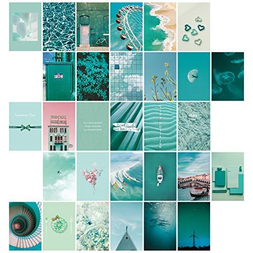 SAVITA 30 Piezas Kit de Carteles de Collage para Pared Estética, Imágenes Estéticas Azules de Ensueño para Impresiones Estéticas del Kit de Collage de Pared, Decoración de Arte de Pared de Habitación