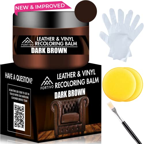 Dark Brown Leather Recoloring Balm - Leather Repair Kits for Couches - Leather Restorer for Couches...