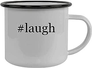 #laugh - Stainless Steel Hashtag 12oz Camping Mug, Black