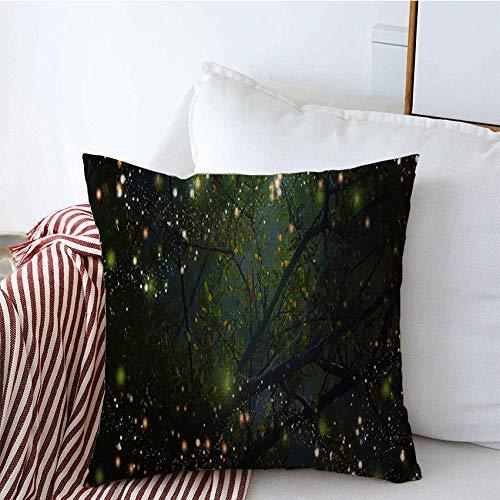 Cojines decorativos cubre concepto hierba belleza abstracta animal luciérnaga mágica volando parques nocturnos al aire libre en el parque texturas Funda de Cojine 45 X 45CM
