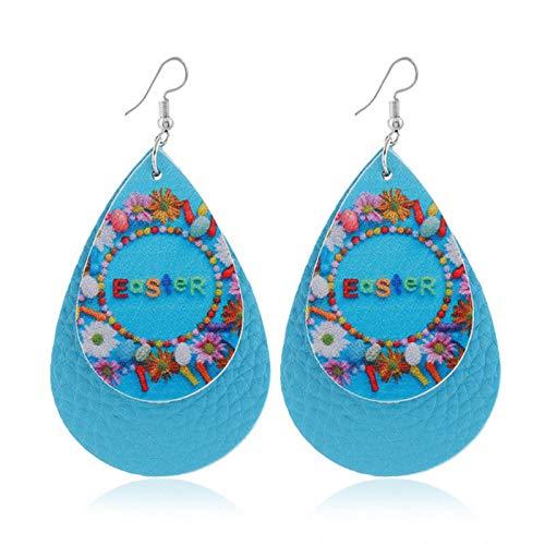 QIN Double Easter Leather Earrings Happy Easter Early Drip Earrings Handmade Cartoon Rabbit Rabbit Rabbit Annius