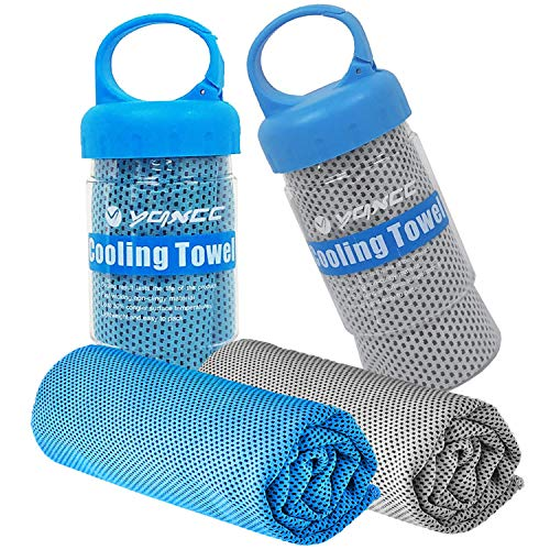 """YQXCC 2 Pack Cooling Towel (47""""x12"""") Ice Towel for Neck, Soft Breathable Chilly Towel, Microfiber Cool Towel for Yoga, Golf, Gym, Camping, Running, Workout & More Activities"""