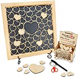 HavenSnug Guest Book Alternative Picture Frame - 55 Small and 1pc Big Wooden Heart for Funeral Guest Book,...