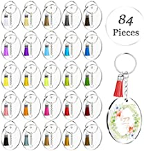 28 Sets Round Clear Acrylic Discs with Key Chains and Tassels, Acrylic Keychain Blanks with Holes for Vinyl, Laser Cut Circles and Colorful Tassel Pendants for DIY Projects and Crafts