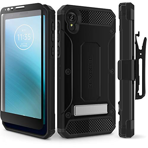 Evocel Motorola Moto E6 Case Explorer Series Pro with Glass Screen Protector and Belt Clip Holster for The Motorola Moto E6, Black