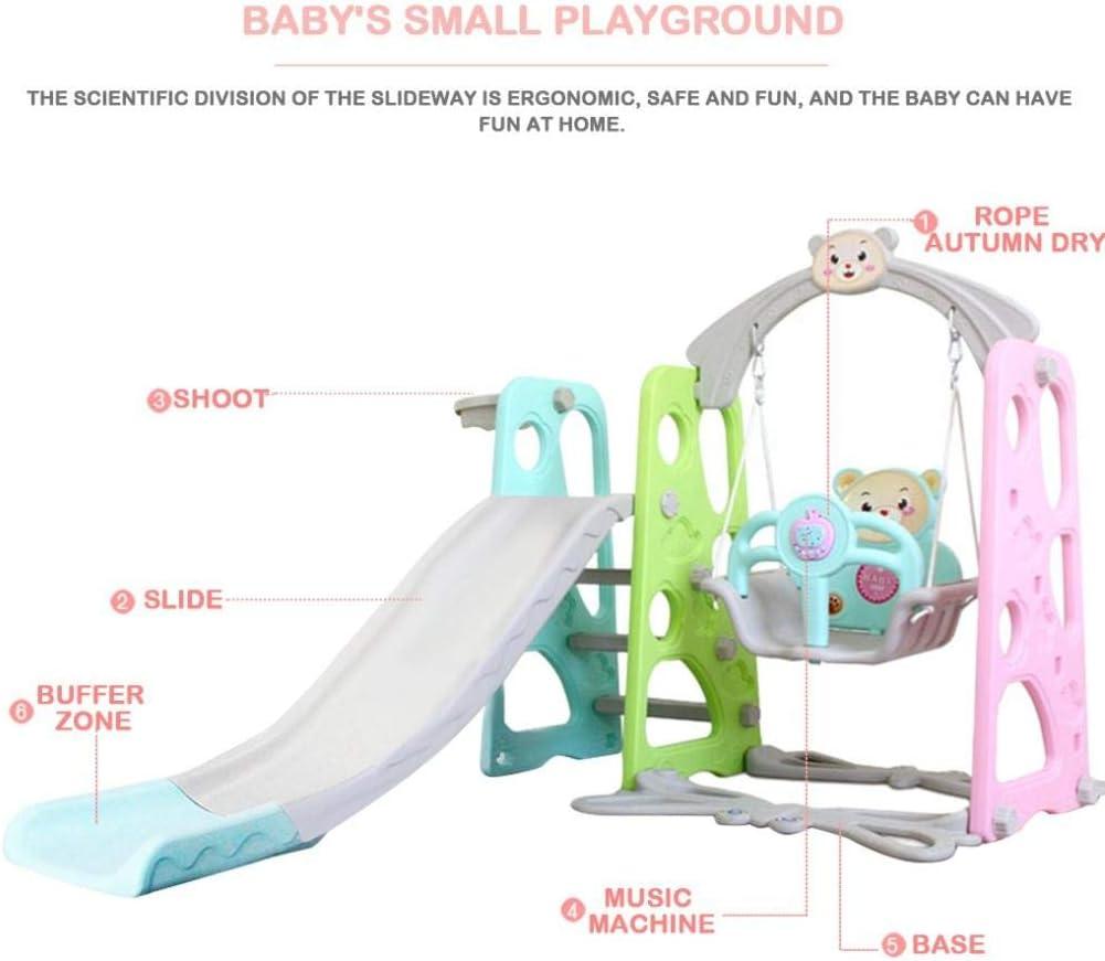 Toddler Slide and Swing Combination Indoor Outdoor Backyard Playset Slides Toys for Babies Pink 5 in 1 Indoor Slide Pink Color Kids Slide with Basketball Hoop Ball Pool Toddler Slide and Swing Set