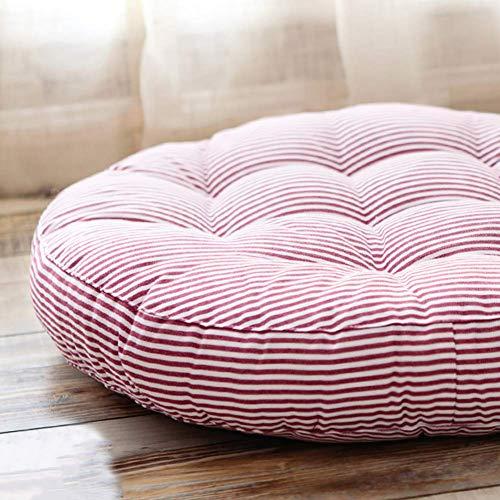 XHNXHN Cojines redondos de la silla de la raya, algodón y lino cojines de la silla de comedor Tatami piso espesan interior exterior transpirable asiento cushion-rojo 42x42x6cm