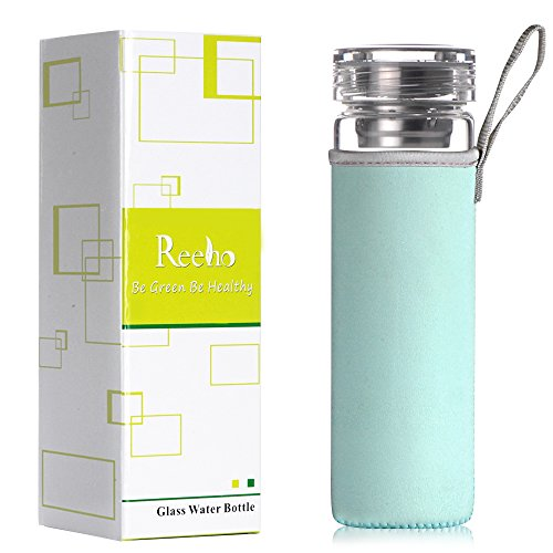 Reeho® Tragbare 510ml Sportflasche Trinkflasche aus Glas, BPA-frei Wasserflasche Glas, Borosilikat Glasflasche Mit Nylon Tasche und Edelstahlfilter (Himmelblau, 510ml)