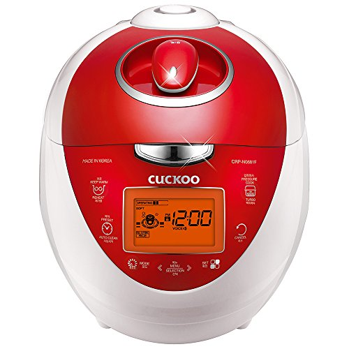 Cuckoo Multifunctional & Programmable Electric Pressure Rice Cooker 6 Cup Diamond Coated Pot & Intelligent Cooking Algorithm, 3 Language Voice Navigation, Made in Korea, Vivid Red