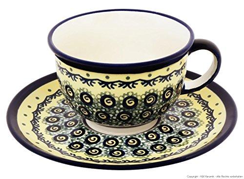 Original Bunzlauer Keramik Tasse mit Untertasse 0.2 Liter im Dekor DU1