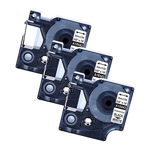 Markurlife-Cintas de Etiquetas Compatible para usar en lugar de Dymo 18443 9MM Industrial Etiquetas Vinilo Autoadhesivas Negro sobre Blanco para Dymo Rhino Industrial Impresoras 5000 4200 3000 1000