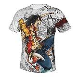 Camiseta Estampada para Hombre Estilo Casual Anime One Piece Monkey D Luffy (7) Camisetas de Manga Corta con Cuello Redondo para Hombres 3X-Large