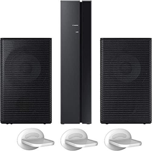 Samsung SWA-9100S Wireless Rear Speaker Kit (2021) 2.0ch SWA-9100S/ZA for Soundbar Surround Sound Home Theater Expansion Bundle with Deco Gear Pack of 3 Wall Mount Shelf Stands