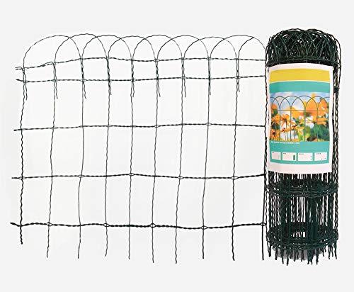 Arvotec Deco hek met hek, groen, maai: H x L: 65 cm x 10 m - 9 x 15 cm - van gecoat staaldraad - Decoratieve hek voor uw tuin - gewoon in de grond steken