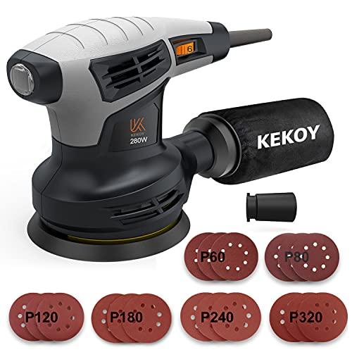 Exzenterschleifer mit Staubsaugeranschluss, KEKOY 125mm Schleifmaschine mit 18 St. Schleifpapier, 8000-13000 OPM Einstellbare Geschwindigkeiten, Hochleistungs-Staubsammel System, Staubsammelbeutel