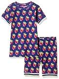 Hatley Girls' Organic Cotton Short Sleeve Printed Pajama Sets, Blue, 6 Years