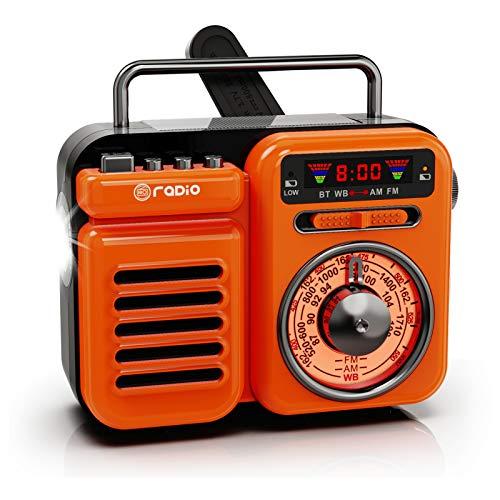 Raddy RW3 Radio de manivela de emergencia retro AM/FM/NOAA, funciona con pilas solares con cargador de teléfono, linterna, altavoz Bluetooth, alarma SOS