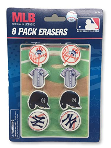 National Design New York Yankees 8 Pack Erasers on Blister Card