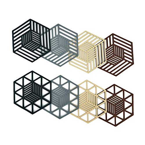 DEMIFUN Silikon-Untersetzer-Set für heiße Geschirr, Töpfe und Pfannen, sechseckig, hitzebeständig, für Küchentheke und Esstisch, 8 Stück, 4 Farben