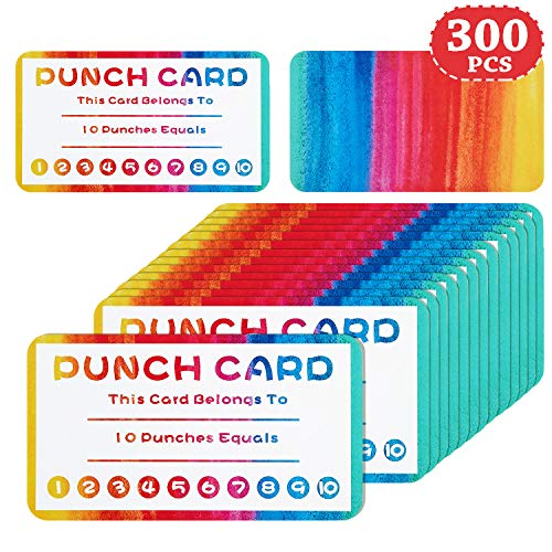 Punch Cards Incentive Reward Cards, Classroom Kids Rewards for Teachers Students Customer Supplies, Business Kids Behavior Students (300 Pieces)