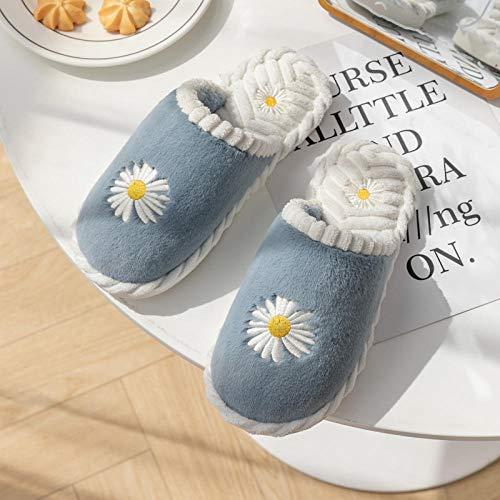 XZDNYDHGX Zapatillas de Deporte Hombre Mujer Antideslizante,Zapatillas de algodón de Invierno para niñas, Pareja de Fondo Grueso para Interior,cálidos Antideslizantes Azul de Invierno UE 37-38