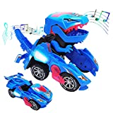 LINKFU Transforming Dinosaur Toy, 2 in 1 Automatic Dinosaur Transformer Toy, LED Dinosaur Transformer Car Toy with Sound for Kids