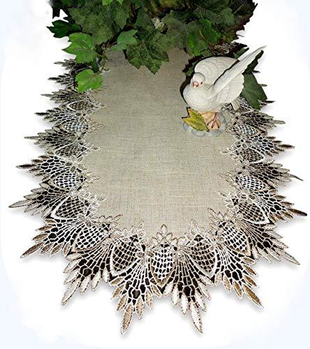 Galleria di Giovanni 34 inch Table Runner Dresser Scarf Neutral Earth Tones European Lace