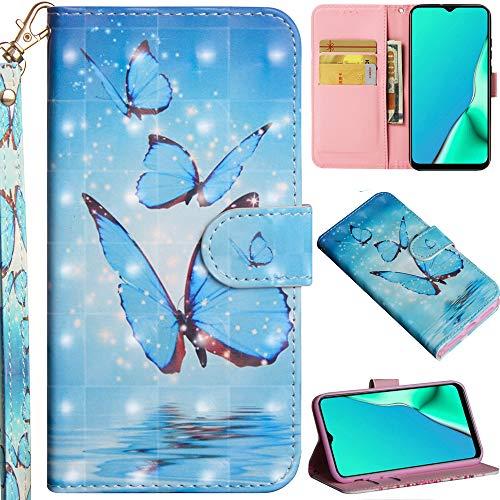 C/N DodoBuy Hülle für Motorola Moto Edge, 3D Flip PU Leder Schutzhülle Handy Tasche Wallet Hülle Cover Ständer mit Trageschlaufe Magnetverschluss - Blau Schmetterling