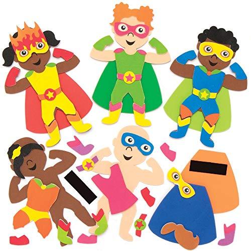 Baker Ross Superhelden Mix & Match Magneten, für Kunsthandwerksprojekte für Kinder (8 Stück)