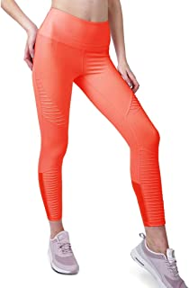 Crazy4Bling Cover Girl Coral Orange Capri Yoga Workout Leggings with Stitching and Phone Pocket, Small