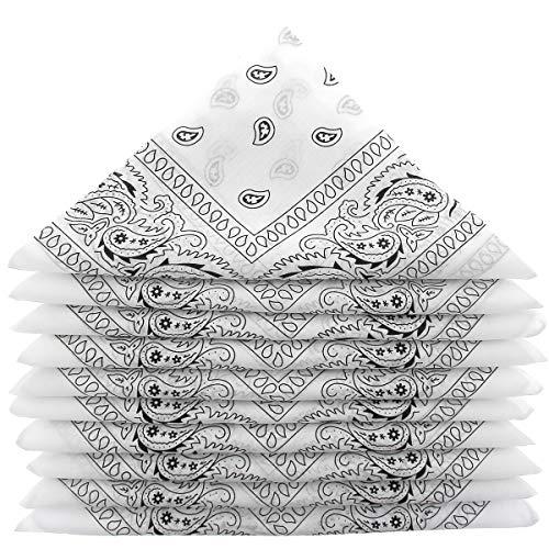 KARL LOVEN Bandanas 5er Pack 100% Baumwolle Paisley Halstuch Kopf Hals Schal (5er Pack, Weiß)