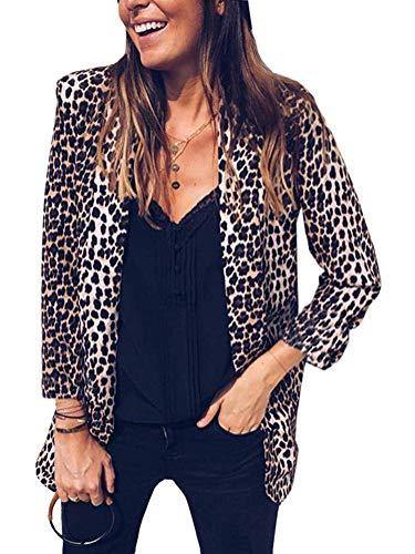Tomwell Mujeres Blazer Elegante Estampado de Leopardo Oficina Negocios Parte Traje de Chaqueta Slim Fit Outwear Tops Estampado Leopardo ES 42