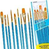 Lictin Pinceaux Peinture Acrylique - 10 Nylon Pinceaux Artiste Plume Lisse, Pinceaux de Peinture à l'huile pour Aquarelle, Gouache Acrylique