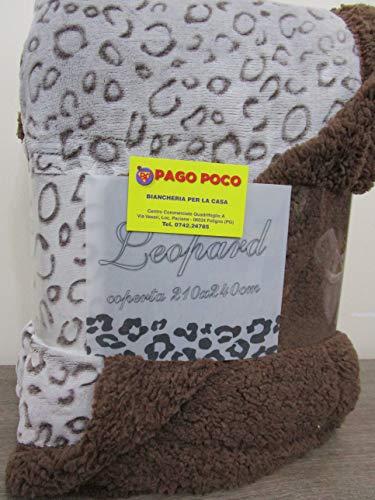 Pago Poco Plaid Decke aus superweichem und sehr warmen Mikrofaser mit Rückseite Agnelles Maß. 210 x 240 cm Leopard Braun