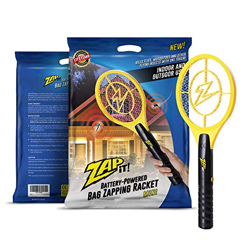 ZAP IT! Bug Zapper - Battery Powered (2xAA) Mosquito, Fly Killer and Bug Zapper Racket - 3,500 Volt - Safe to Touch (Mini, Yellow)