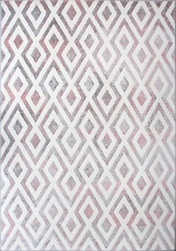 Diamond Grey Blush Pink Aztec Geometric Rug Soft Plush Silver Ombre Trellis Living Room Area Bedroom Hallway Rugs 60cm X 110cm
