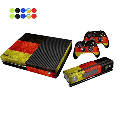 Skin for XBOX ONE, Morbuy Vinilo Consola Design Foils Pegatina Sticker And 2 XBOX ONE Controlador & Kinect Skins Set + 10pc Silicona Thumb Grips (Banderas Alemania)