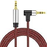 Right Angle Aux Kabel 6M, nufedcpo Audio Kabel 3,5 mm Klinkenkabel mit Nylon kompatibel mit Auto, Handy, Kopfhörer, Laptop, Lautsprecher, Stereoanlage, TV, usw