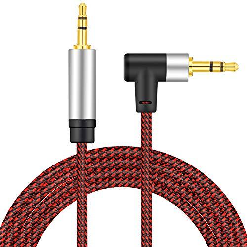 Right Angle Aux Kabel 8M, nufedcpo Audio Kabel 3,5 mm Klinkenkabel mit Nylon kompatibel mit Auto, Handy, Kopfhörer, Laptop, Lautsprecher, Stereoanlage, TV, usw