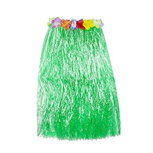 Super Z Outlet Hawaiian Luau Hibiscus Green String & Colorful Silk Faux Flowers Hula Grass Skirt for Costume Party, Events, Birthdays, Celebration (1 Count) (Green)