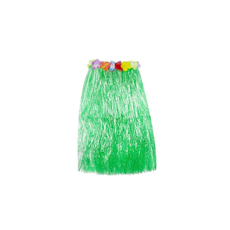 silk flower arrangements super z outlet hawaiian luau hibiscus green string & colorful silk faux flowers hula grass skirt for costume party, events, birthdays, celebration (1 count) (green)