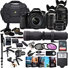 Canon EOS 80D DSLR Camera with 18-135mm Lens, 50mm f/1.8, Tamron 70-300mm Lenses + 420-800mm Zoom Tele Lens + 5 Photo/Video Editing Software Package & Professional Accessory Kit (Renewed)