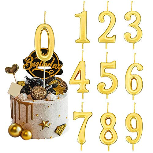OlanHey 10 PCS Birthday Number Candles Cake Gold Numeral Candles Number 0-9 Glitter Cake Topper Decoration for Birthday, Wedding, Reunion, Theme Party