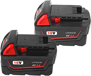 6000mAh 18V M18 Battery for Milwaukee Replacement Battery Lithium XC 48-11-1850 48-11-1820 48-11-1840 48-11-1828 48-11-1815 Compatible with Milwaukee 18 Volt Cordless Power Tool Batteries(2Pack)