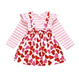 Toddler Baby Girls Valentine's Day Outfit Ruffle Sleeve Stripes Shirt Tops + Suspender Strap Heart Print Skirt Set (Pink, 18-24 m)