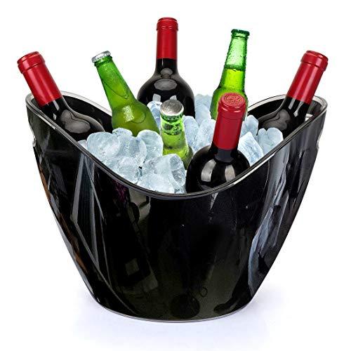Yobansa 8L Acrylique Grand Seau à Glace, Seaux à Champagne Seau à Champagne Seau à Vin, Récipient De Stockage De Fruits et Légumes (Black 01)