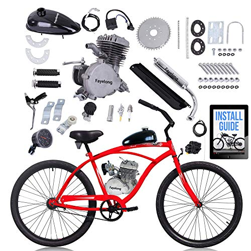 Fayelong 80ccm 2-Takt-Upgrade-Umrüstsatz Für Elektrofahrräder, DIY-Benzinmotor-Fahrradmotor-Kit Für 24-, 26- Und 28-Zoll-Fahrräder (Silber,mit tacho)