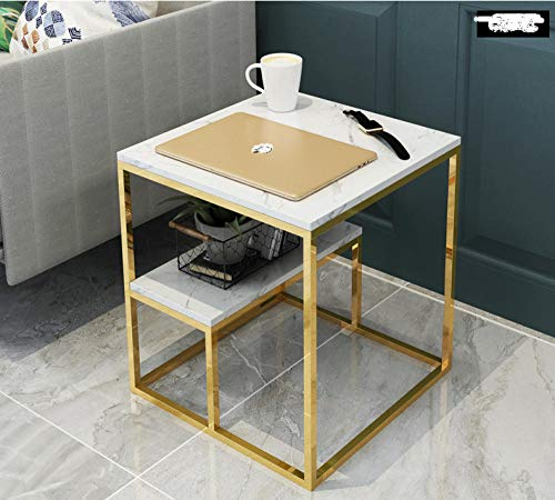 End Table for Living Room Nightstand/Small Tables,Double-Layer Marble Coffee Table, Creative Sofa Side Table, Corner Table Simple Iron Small Table Bedside Table-Style 1 (50 * 45 * 45)