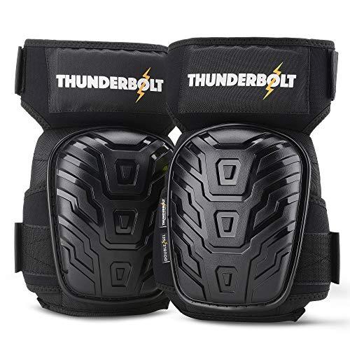 Thunderbolt® Knieschoner Professioneller Knieschützer mit komfortablem Gelkissen Knieschoner Fliesenleger, Bau, Bodenbeläge, Gartenarbeiten mit starken rutschfesten Gurten